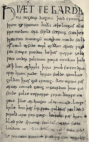 First page of the Old English epic poem Beowulf