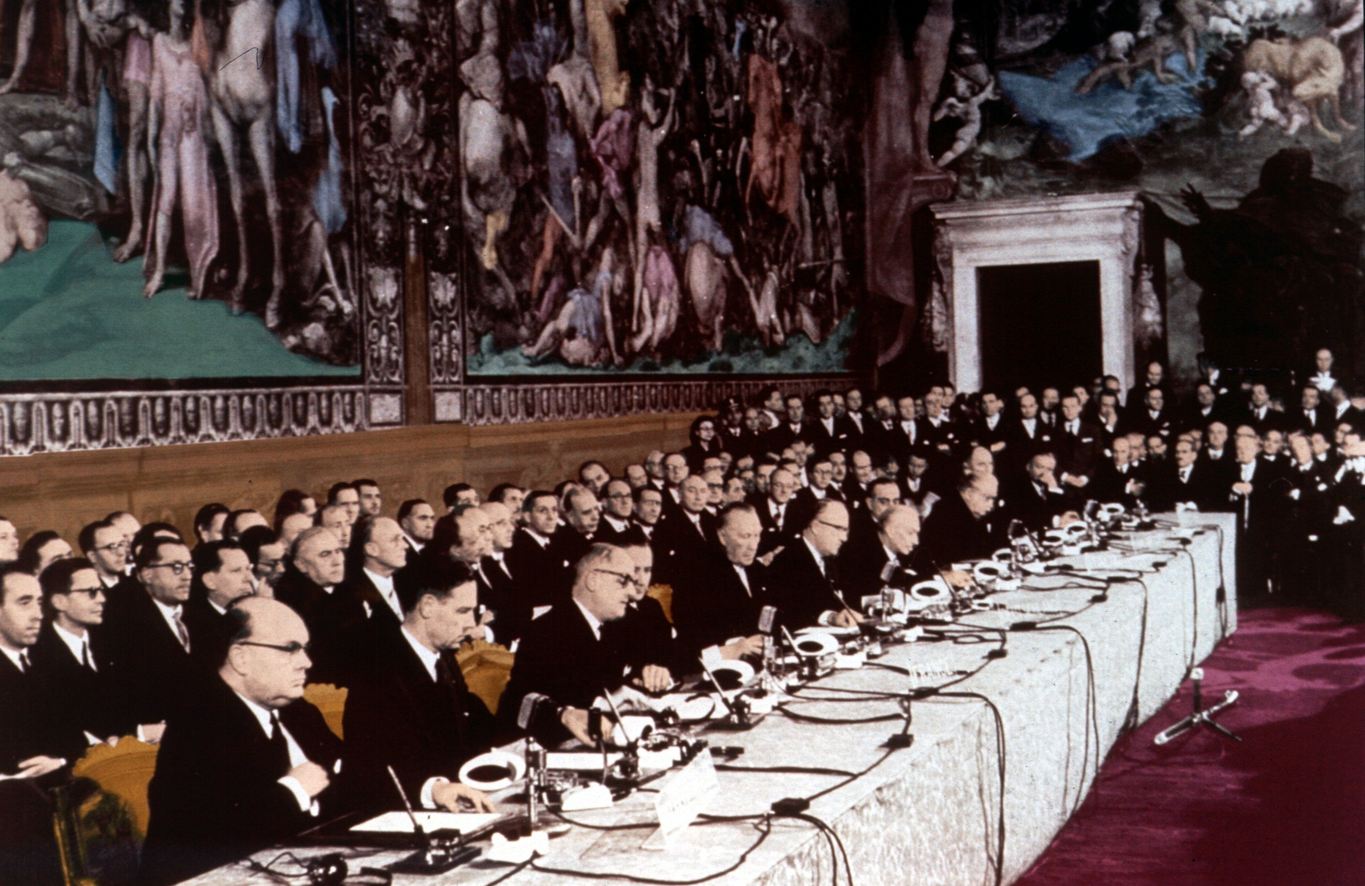 The 1957 Treaties of Rome signing ceremony. Italy is a founding member of the European Union.